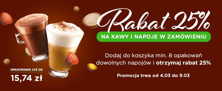 dolce-gusto.pl - rabat 25% na kapsułki po dodaniu 8 kaw do koszyka