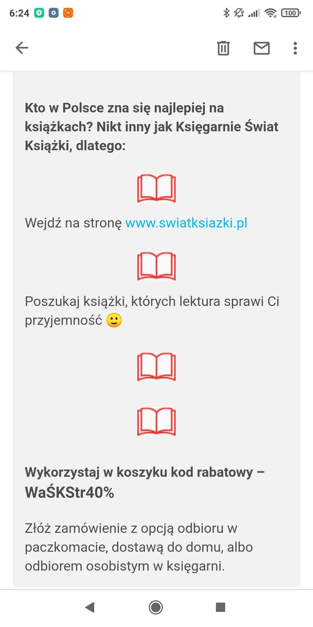 Kupon rabatowy -40% do Świata Książki