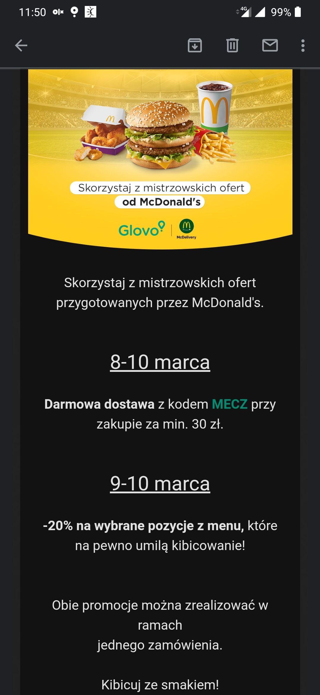 Glovo: darmowa dostawa z McDonald's (8-10 marca) i -20% na wybrane pozycje (9-10 marca)