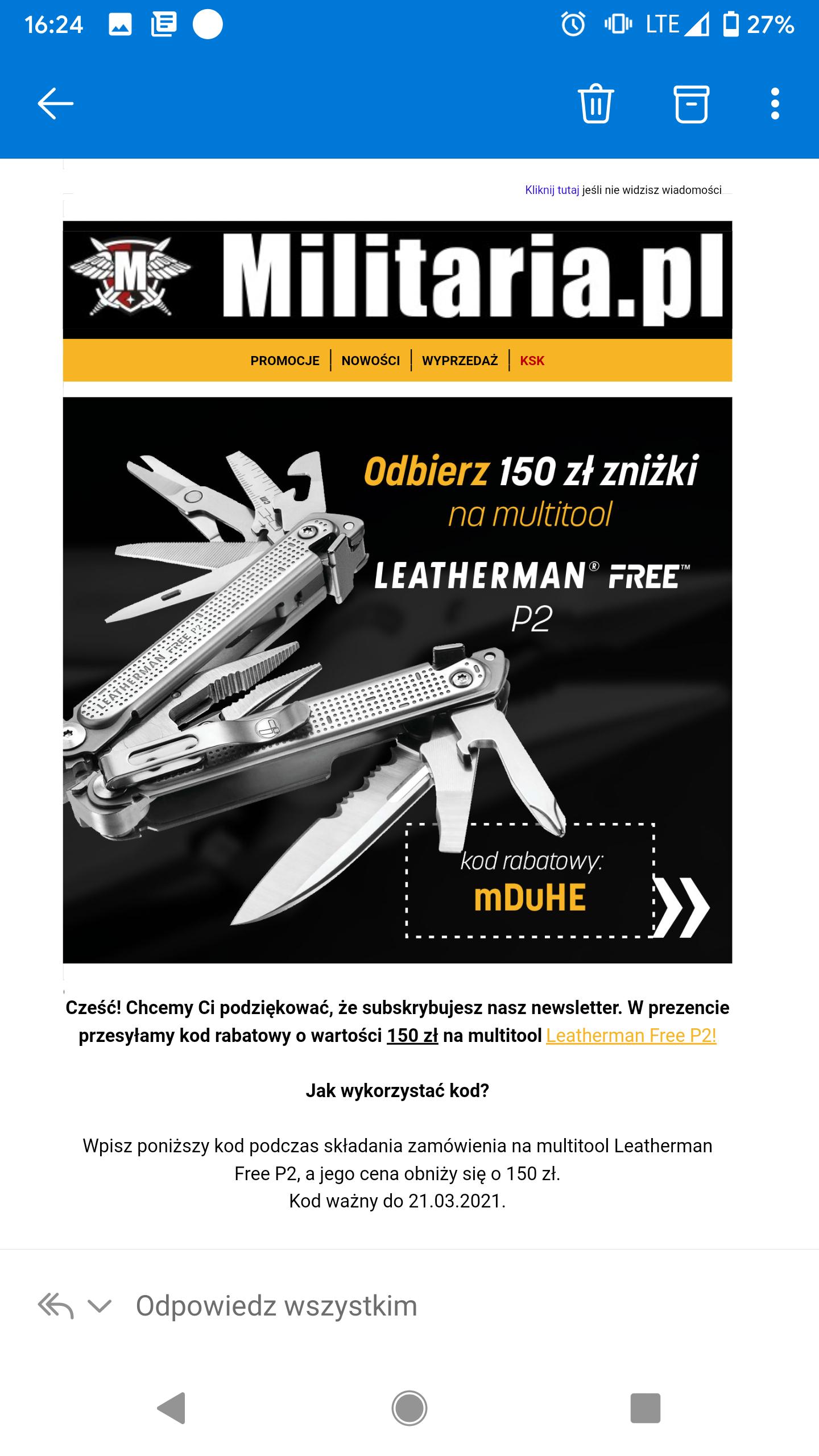 """Multitool Leatherman model """"Free P2"""""""