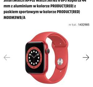 APPLE Watch 6 GPS Koperta 44 mm czerwony
