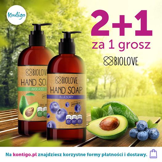 2+1 za grosz - promocja na mydła do rąk Biolove w @Kontigo - 3 zapachy do wyboru