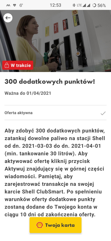 300 dodatkowych punktów w aplikacji Shell