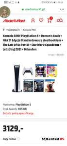 PlayStation 5 + Demon's Souls + FIFA 21 + The Last Of Us Part II + Star Wars: Squadrons + Let's Sing 2021 + Mikrofon
