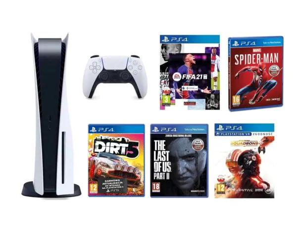 PlayStation 5 + Marvel's Spider-Man + FIFA 21 Edycja Standardowa ze steelbookiem + The Last Of Us Part II + Star Wars: Squadrons + DiRT 5