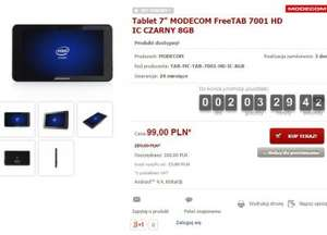 "Tablet 7"" MODECOM FreeTAB 7001 HD IC (CZARNY) 8GB za 99 zł @ Modecom"