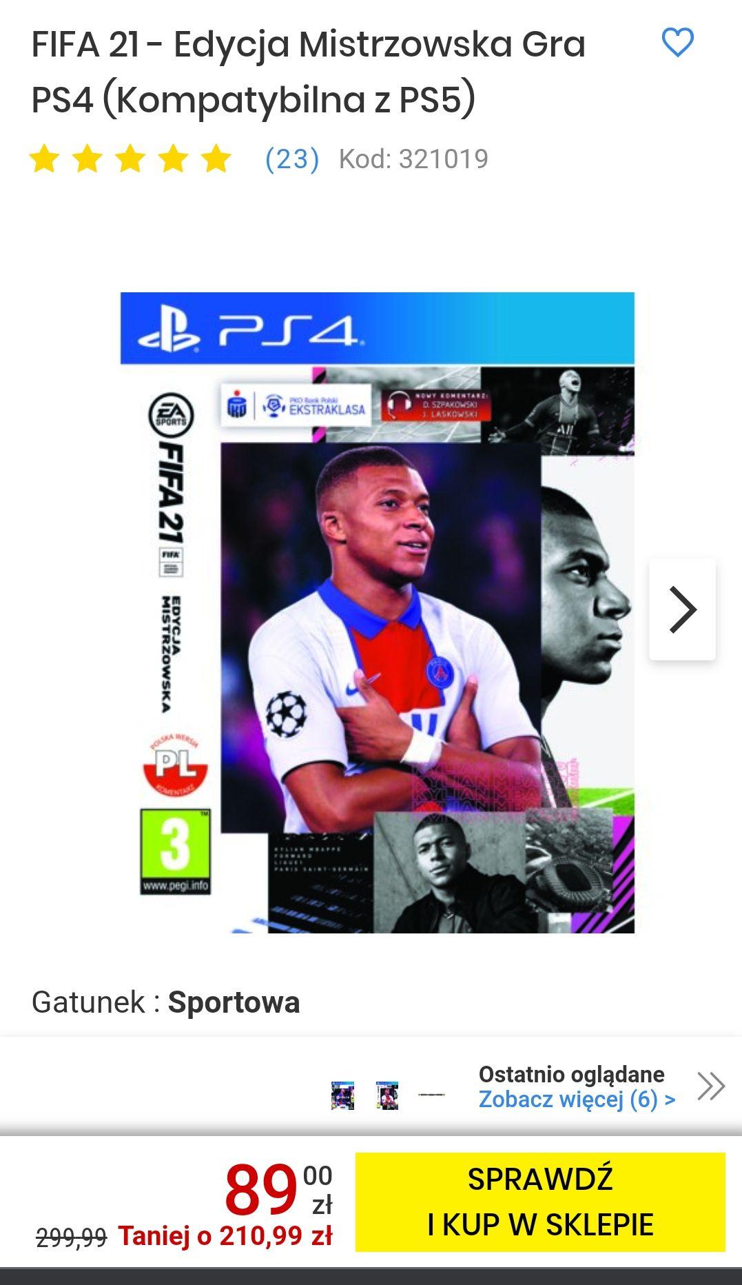 FIFA 21 - Edycja Mistrzowska Gra PS4 (Kompatybilna z PS5)-dostepny w sklepach stacjonarnych
