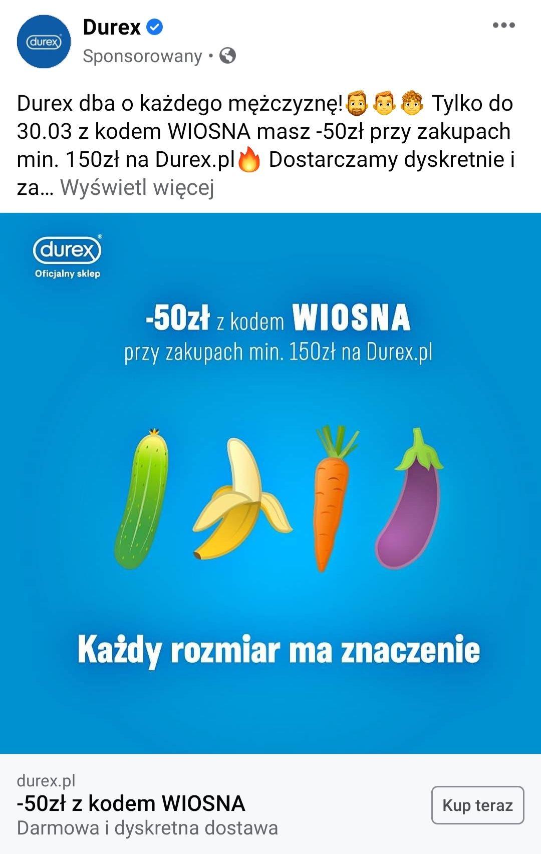 Durex -50 zł przy zamówieniu za 150 zł, darmowa i dyskretna dostawa