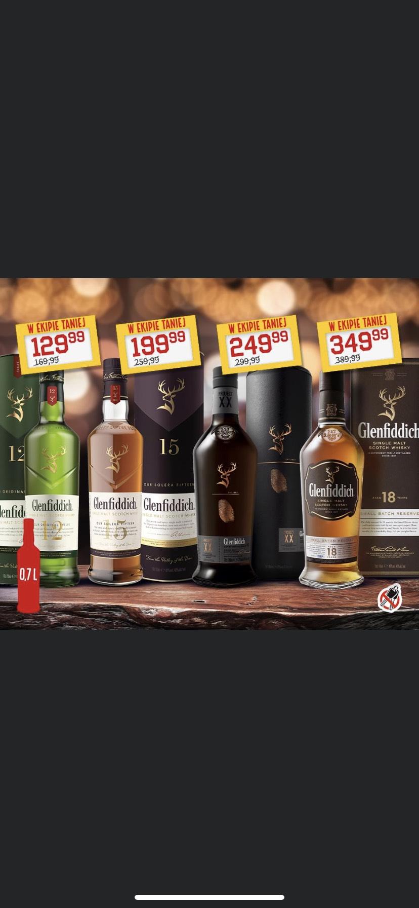 Whisky Glenfiddich 12, 15, XX i 18 Duży Ben