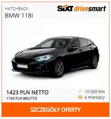 Nowe BMW 118i na wakacje (4 miesiące)