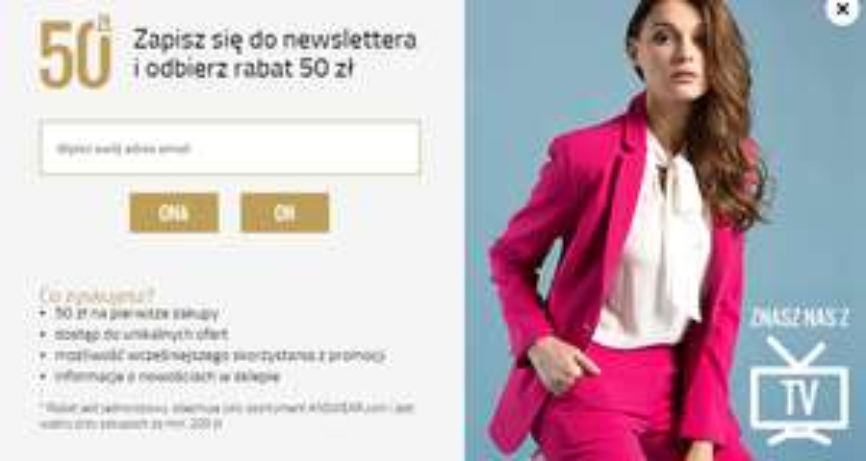 50zł rabatu za newsletter ANSWEAR.COM