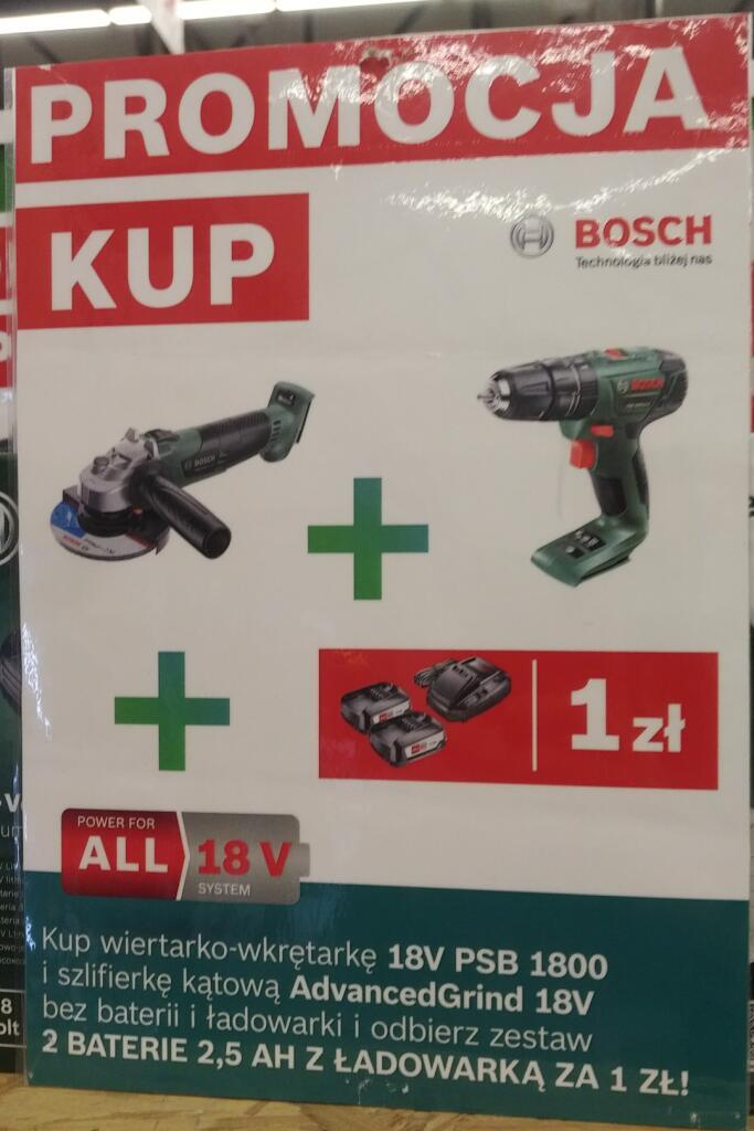 Zestaw Bosch 18V szlifierka AdvencedGrind + wiertarko-wkrętarka PSB 1800 + 2x aku 2,5Ah za 1zł - Bricoman