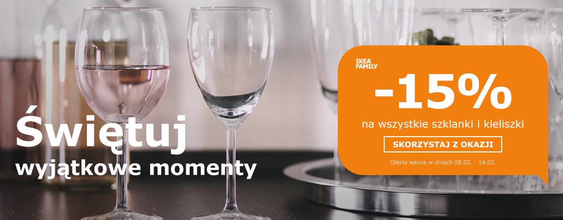 -15% na wszystkie szklanki i kieliszki @Ikea Family
