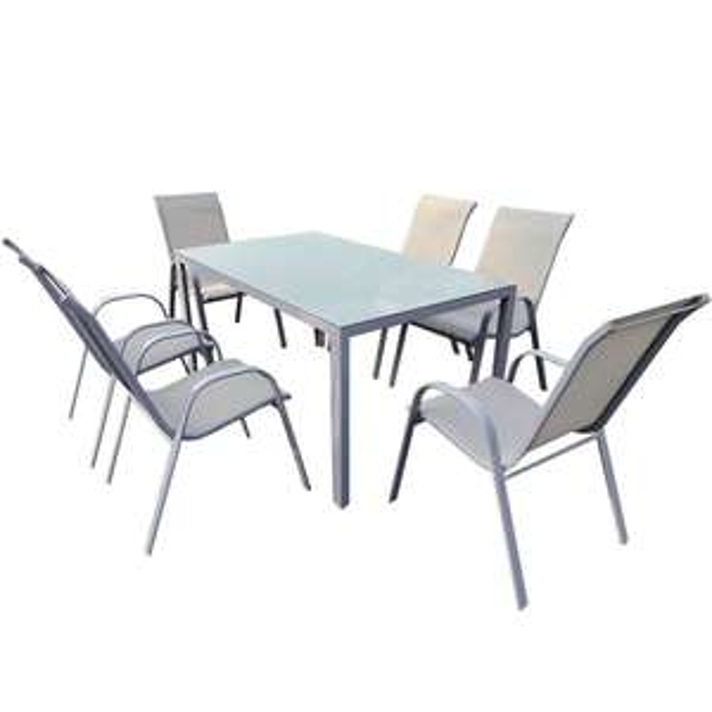 Komplet ogrodowy Bergen szklany stół + 6 krzeseł
