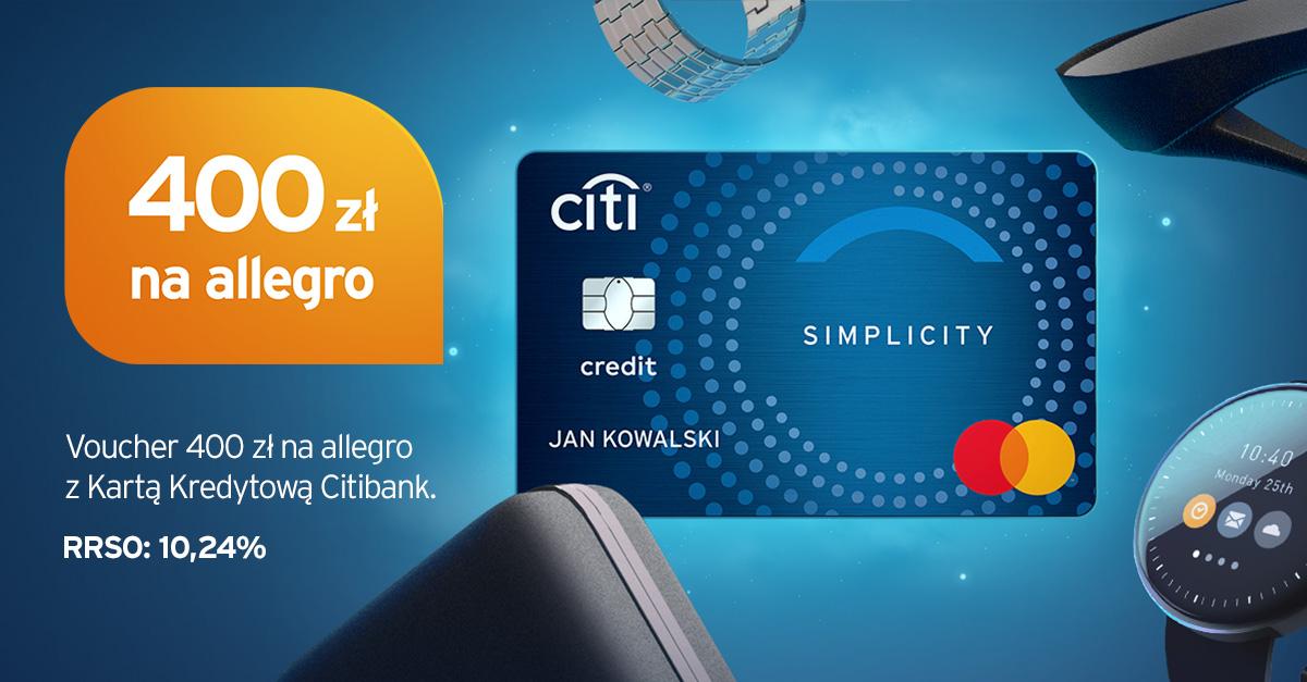 Karta Citi Simplicity voucher 400zł na Allegro