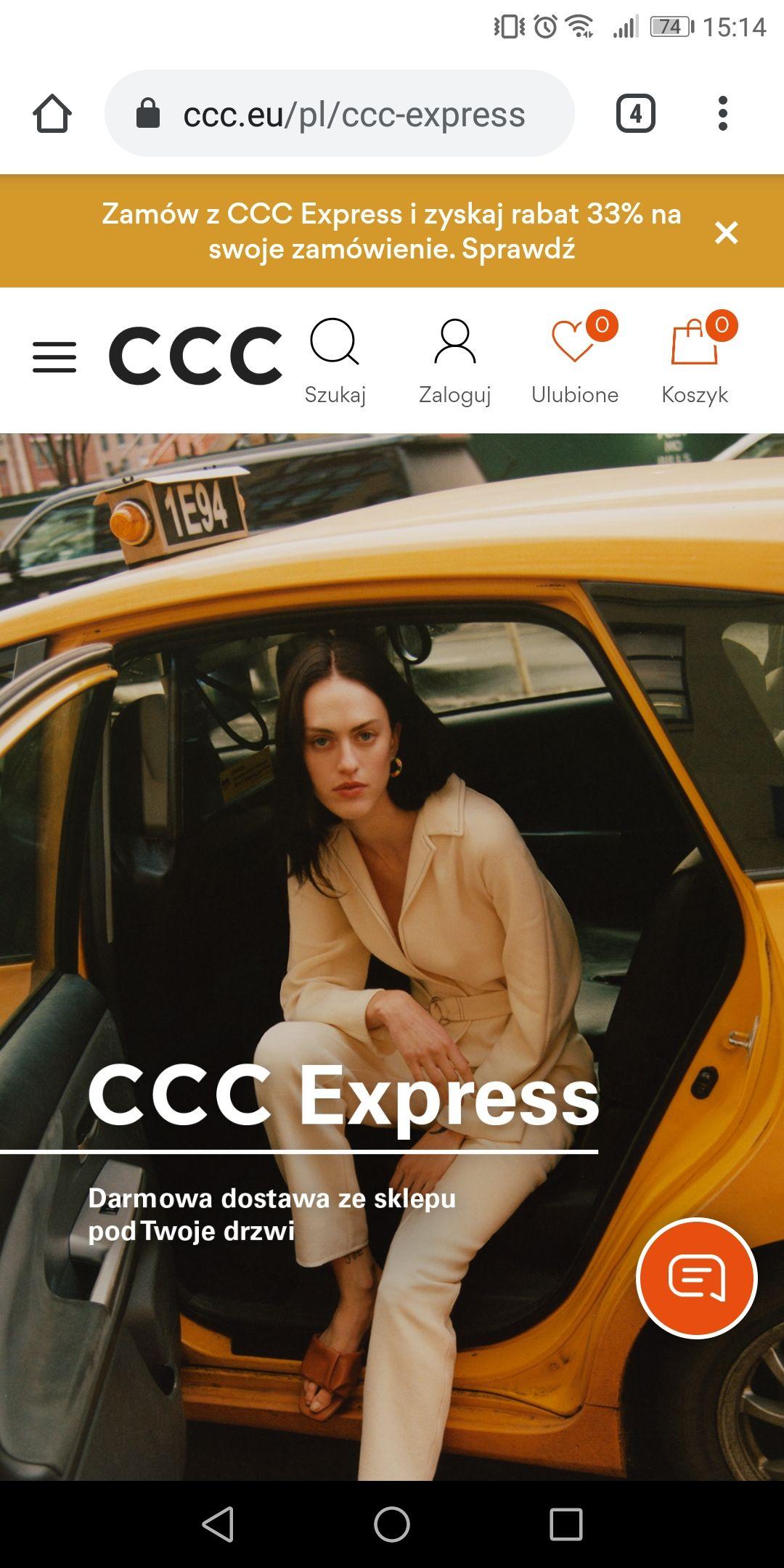 CCC -33% na wszystko przy zamowieniu przez CCC Express