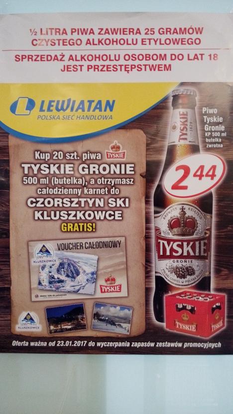 Skipass jednodniowy do Czorsztyn Ski za zakup Tyskie @ Lewiatan