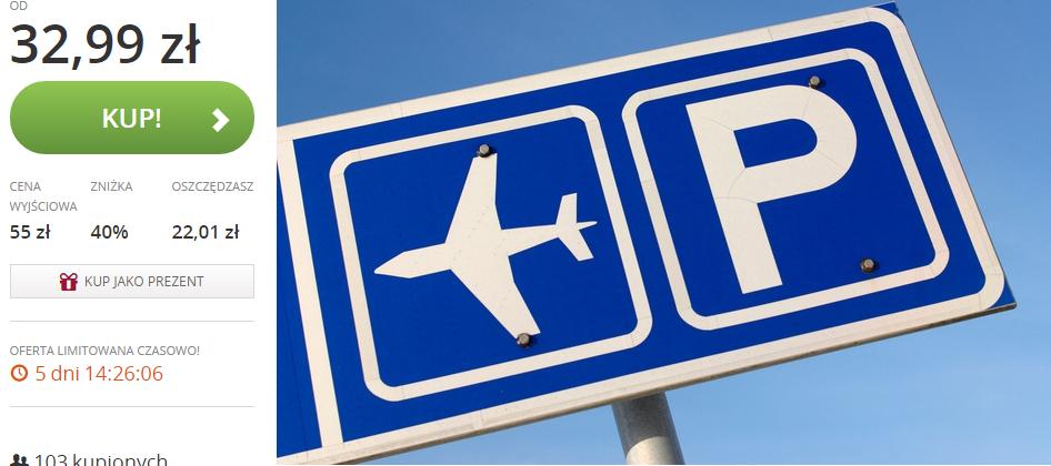 40% rabatu na parking przy lotnisku 7 lub 14 dni w 5 miastach (Warszawa, Gdańsk, Poznań, Kraków, Katowice) @ Groupon