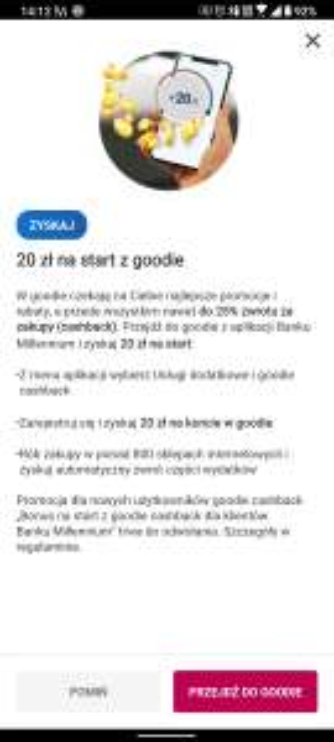 20 zł za friko goodie millenium bank