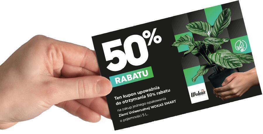 Kupon upoważniający do otrzymania 50% rabatu na zakup Ziemi WOKAS SMART 5L.