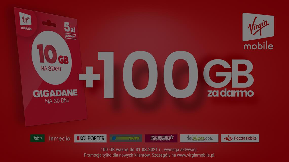Virgin Mobile, Rozmowy, Sms-y bez limitu, 30gb za 15zł miesięcznie oraz 100gb na start dla nowych użytkowników na kartę.
