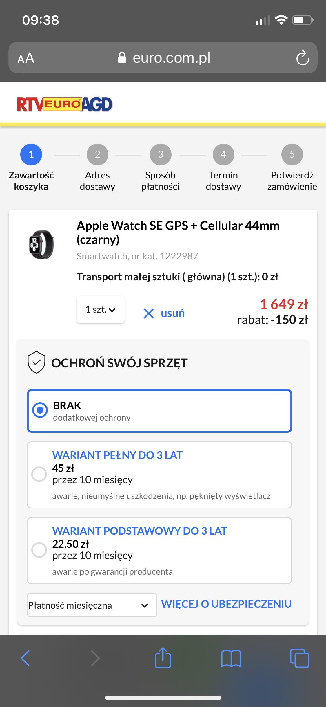 Apple Watch SE GPS + Cellular 44mm (czarny)
