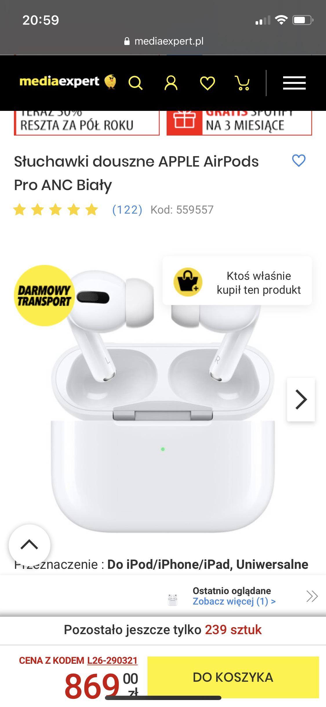 Słuchawki douszne APPLE AirPods Pro ANC Biały