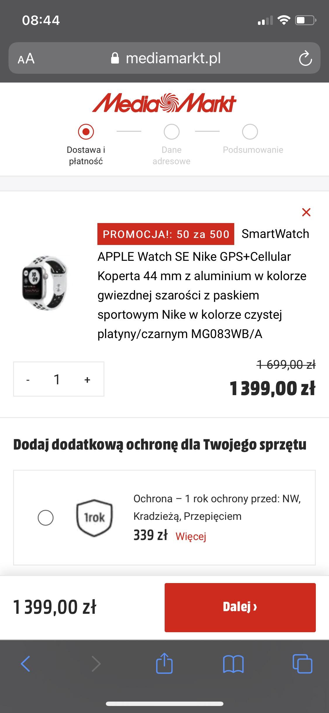 SmartWatch APPLE Watch SE Nike GPS+Cellular Koperta 44 mm + raty 0%