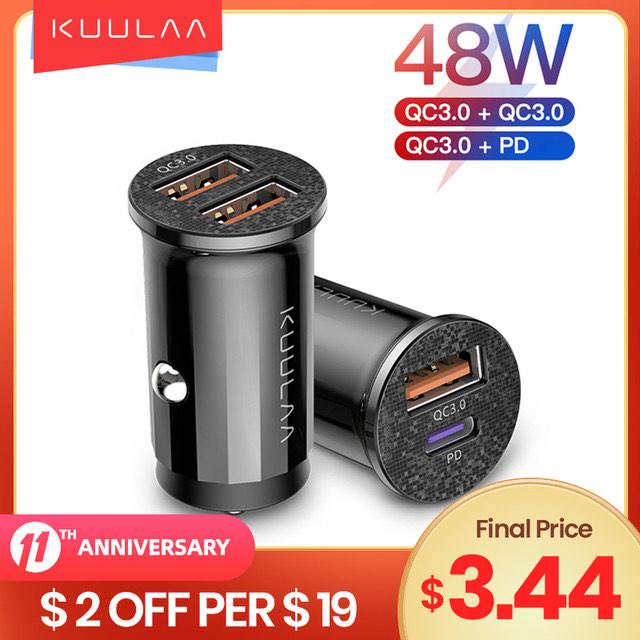 Ładowarka samochodowa KUULAA QC 3.0 Usb-C 48W $3,44