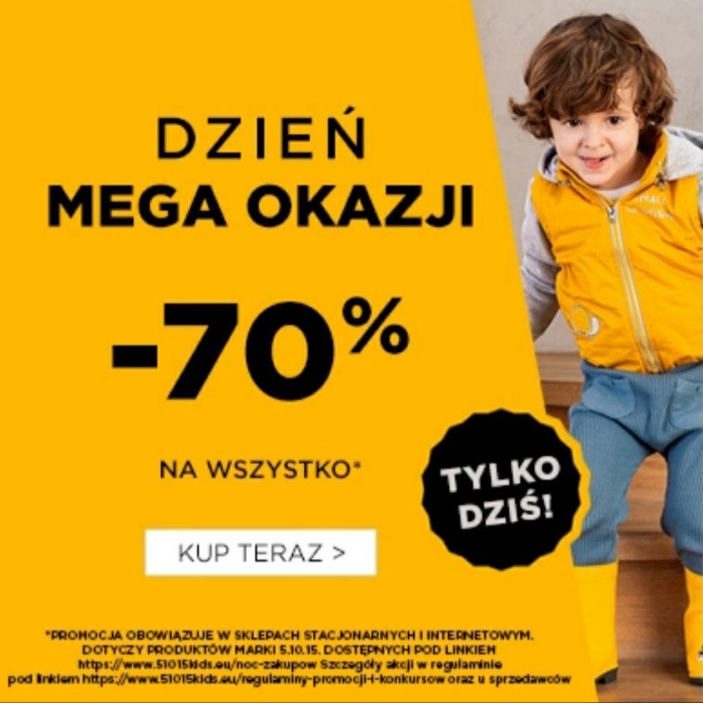 Tylko dziś! -70% na wszystkie ubrania marki 5.10.15 kids w kategorii noc zakupów - 5.10.15