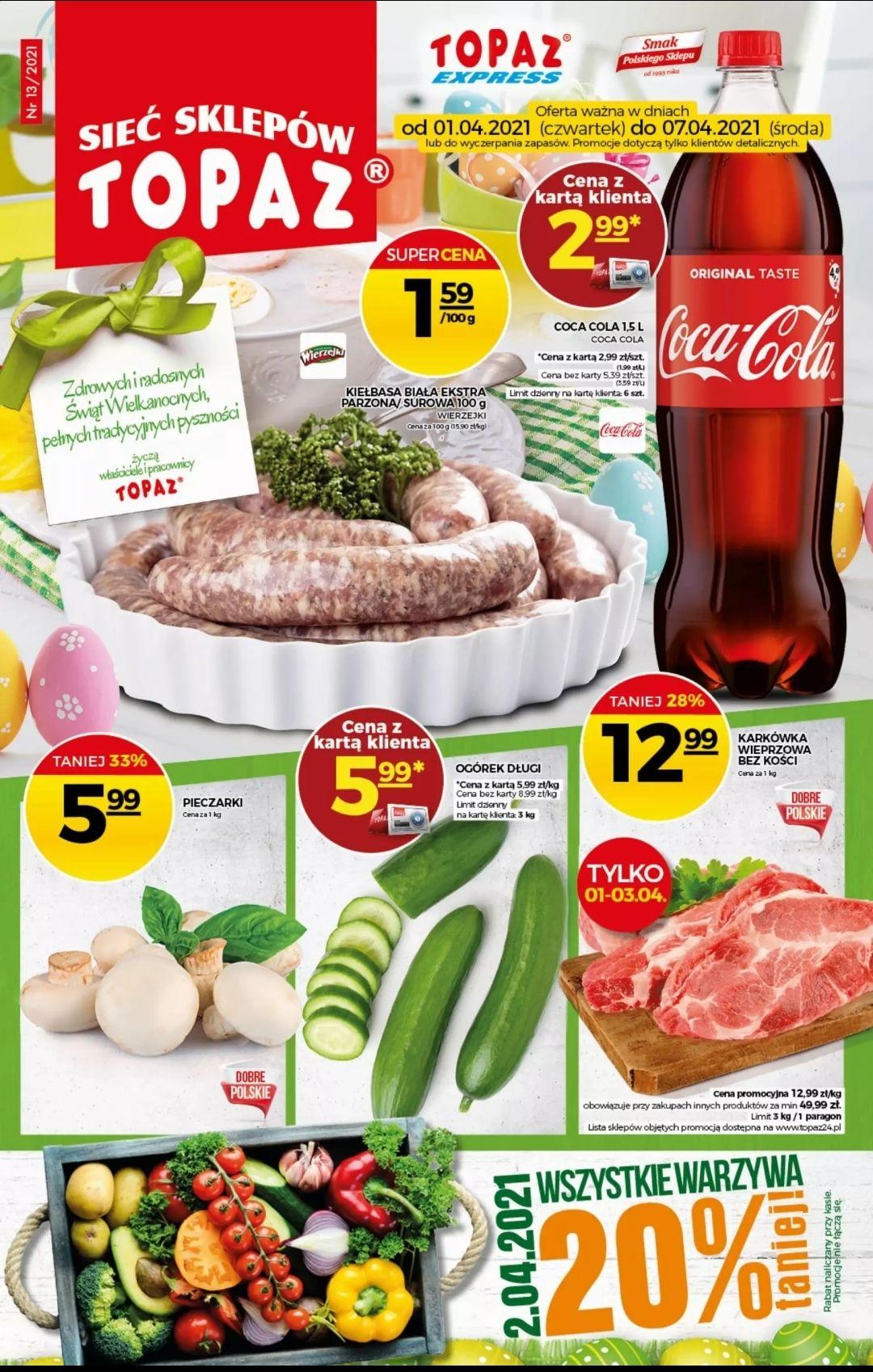 Coca-Cola 1,5l za 2,99 zł w TOPAZ