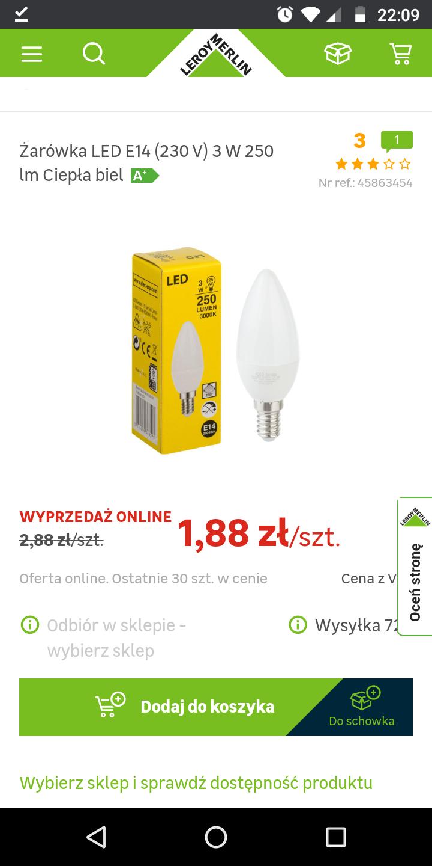 Żarówka LED E14 (230 V) 3 W 250 lm Ciepła biel