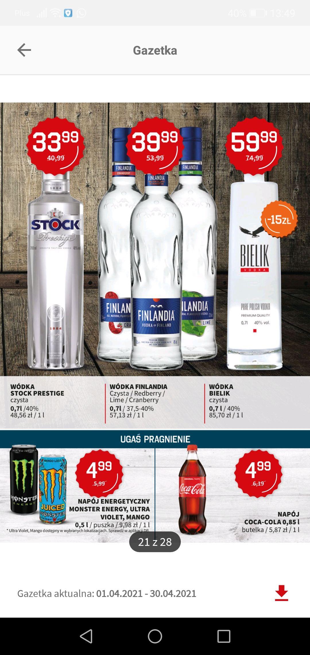Wódka Finlandia 0.7l czysta i smakowe w Duży Ben