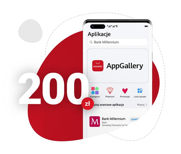 [Do 400zł] 200 zł za założenie konta w Banku Millenium +200 zł kod do Sklepu Huawei