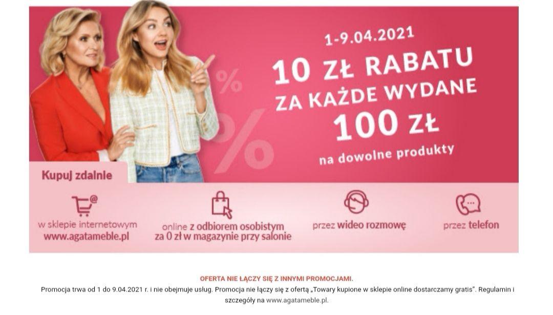 Promocja 10zł rabatu za każde wydane 100zł na dowolne produkty. Agata Meble.