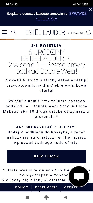 Promocja w estee lauder z okazji urodzin do 06.04 Podkład do makijażu Double Wear Stay-in-Place Makeup SPF 10