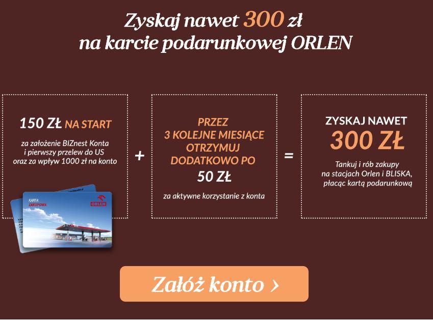 (dla przedsiębiorców) do 300zł do wykorzystania na paliwo na stacjach Orlen @ NestBank