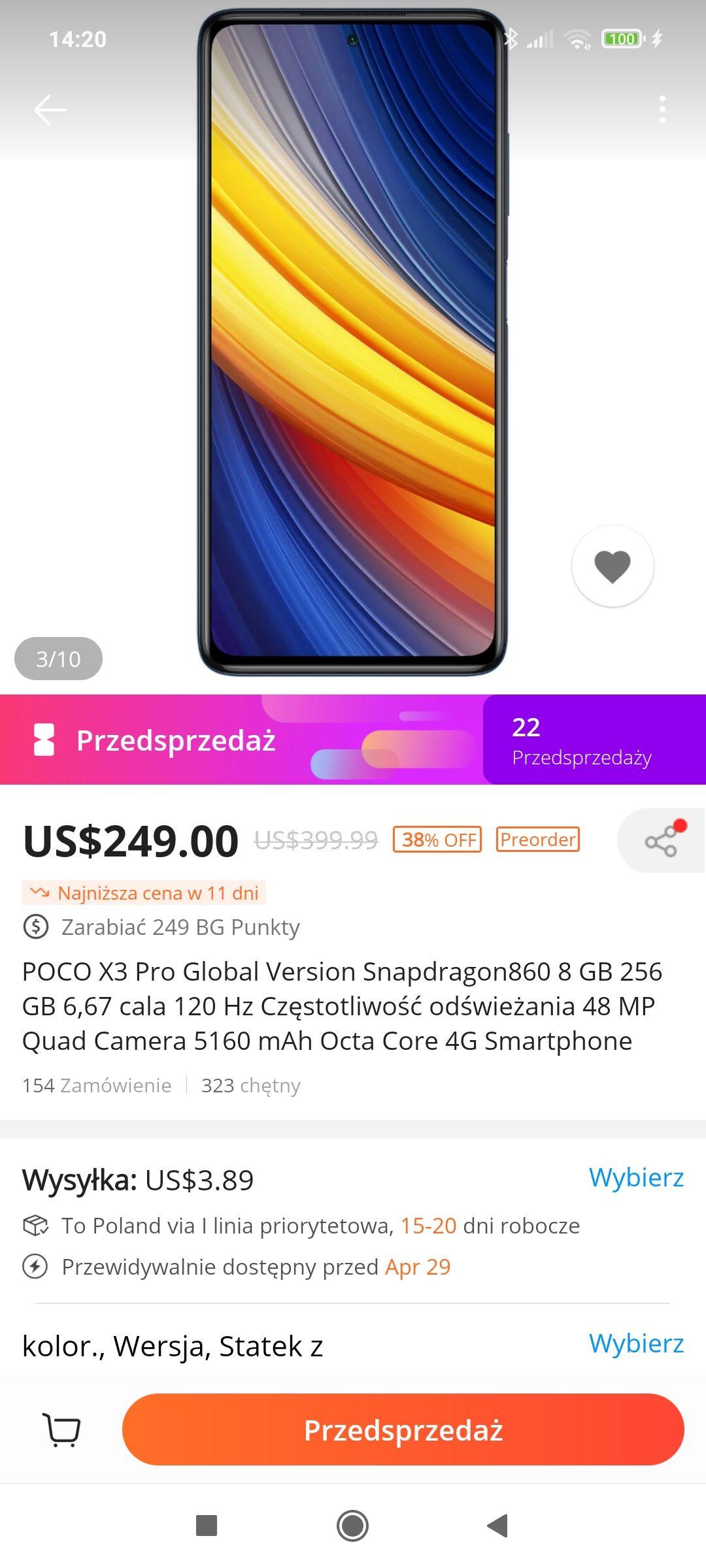 Smartfon Poco x3 pro 8/256 (możliwe 922 zł goodie)