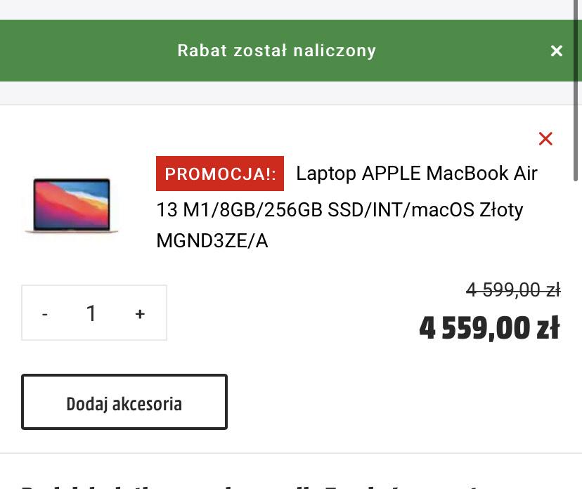 MacBook Air M1 8/256 Złoty