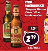 Piwo Raciborskie klasyczne lub zielone w marketach Wafelek.