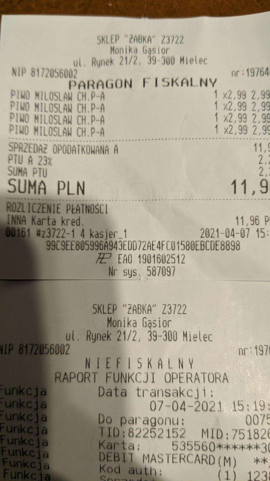 Piwo Miłosław Chmielowy lager puszka 0.5 Żabka