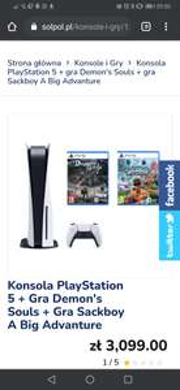 Konsola PlayStation 5 + Gra Demon's Souls + Gra Sackboy A Big Advanture