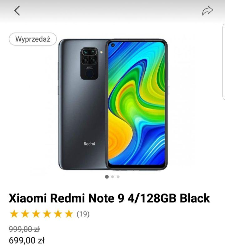 Smartfon Xiaomi Redmi Note 9 4/128GB Black