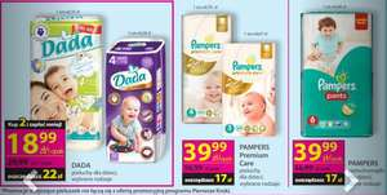 Pampers Premium Care za 39,99zł, pieluszki Dada za 18,99zł @ Hebe
