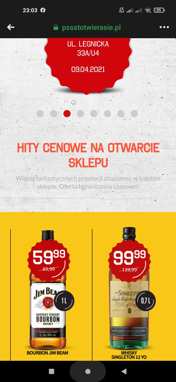 Duży Ben Wrocław Legnicka Jim Beam 1l 59,99, Singleton 12 yo 0,7l 99,99, Bacardi 0,7l 39,99, Dewar's White Label 0,7 39,99
