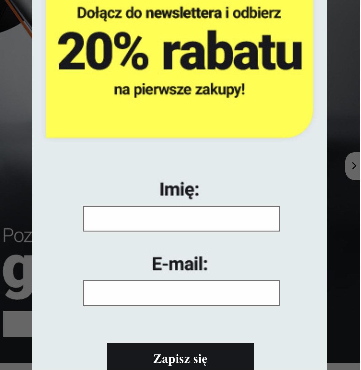 Baseus 20% rabatu na pierwsze zakupy po dołączeniu do newslettera