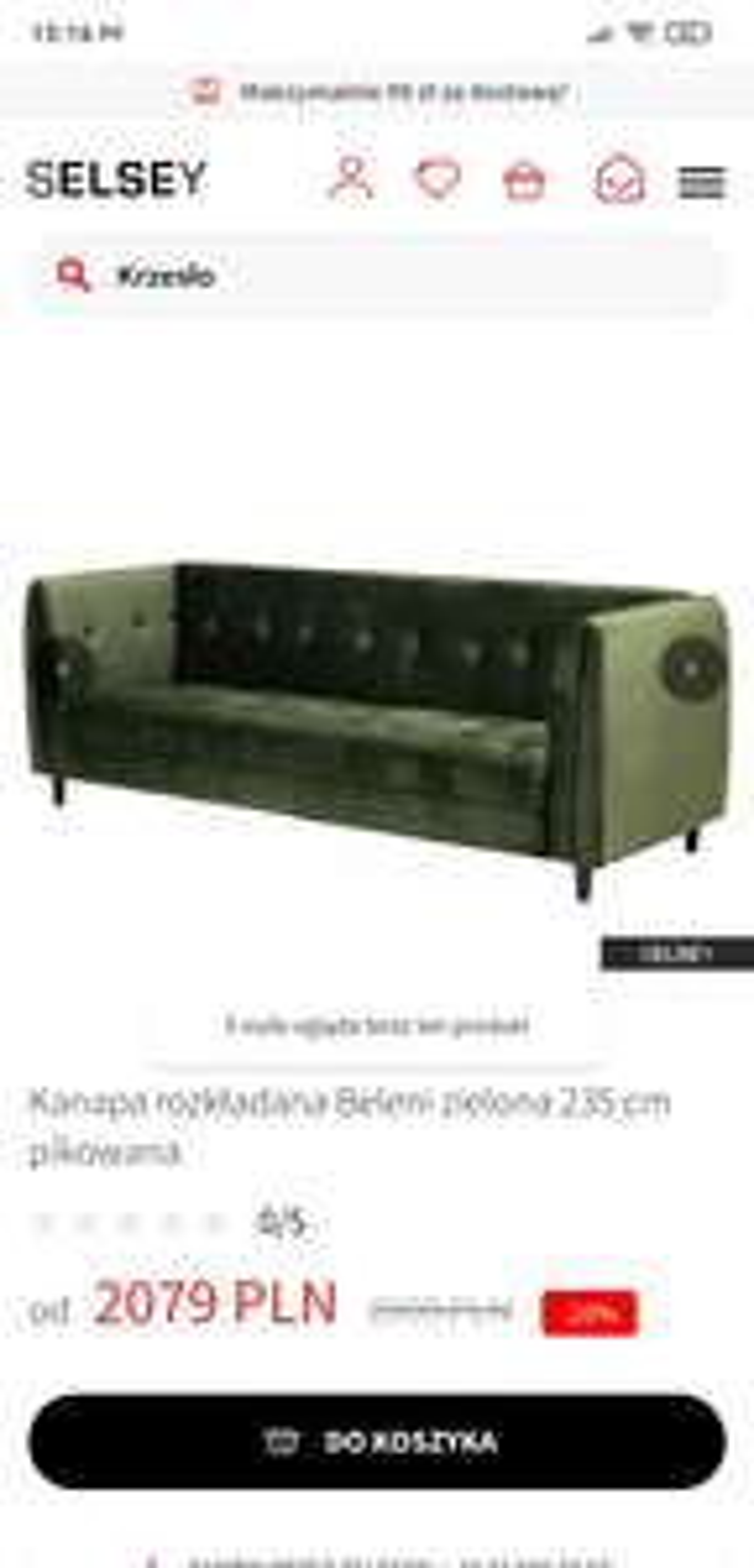 Sofa rozkładana Beleni zielona 235 cm pikowana