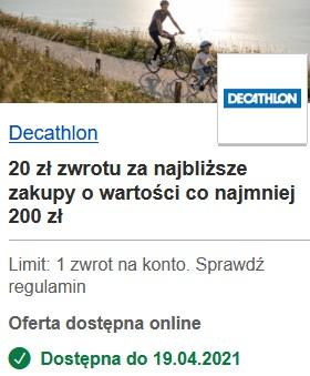Decathlon zwrot 20 za najbliższe zakupy (płatność) o wartości co najmniej 200 zł. Visa Oferty