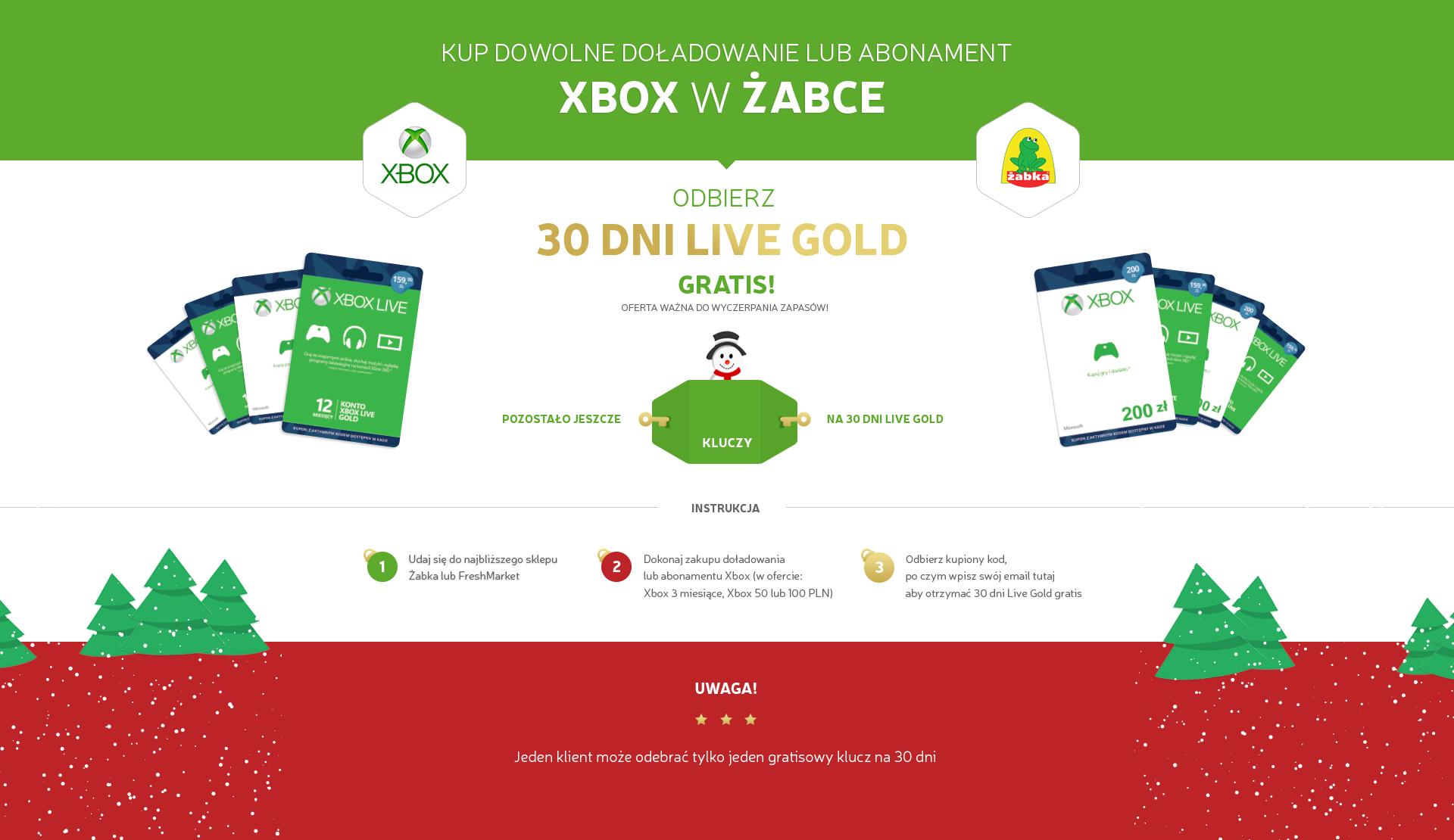 30 dni Xbox Live Gold GRATIS @ Żabka/FreshMarket
