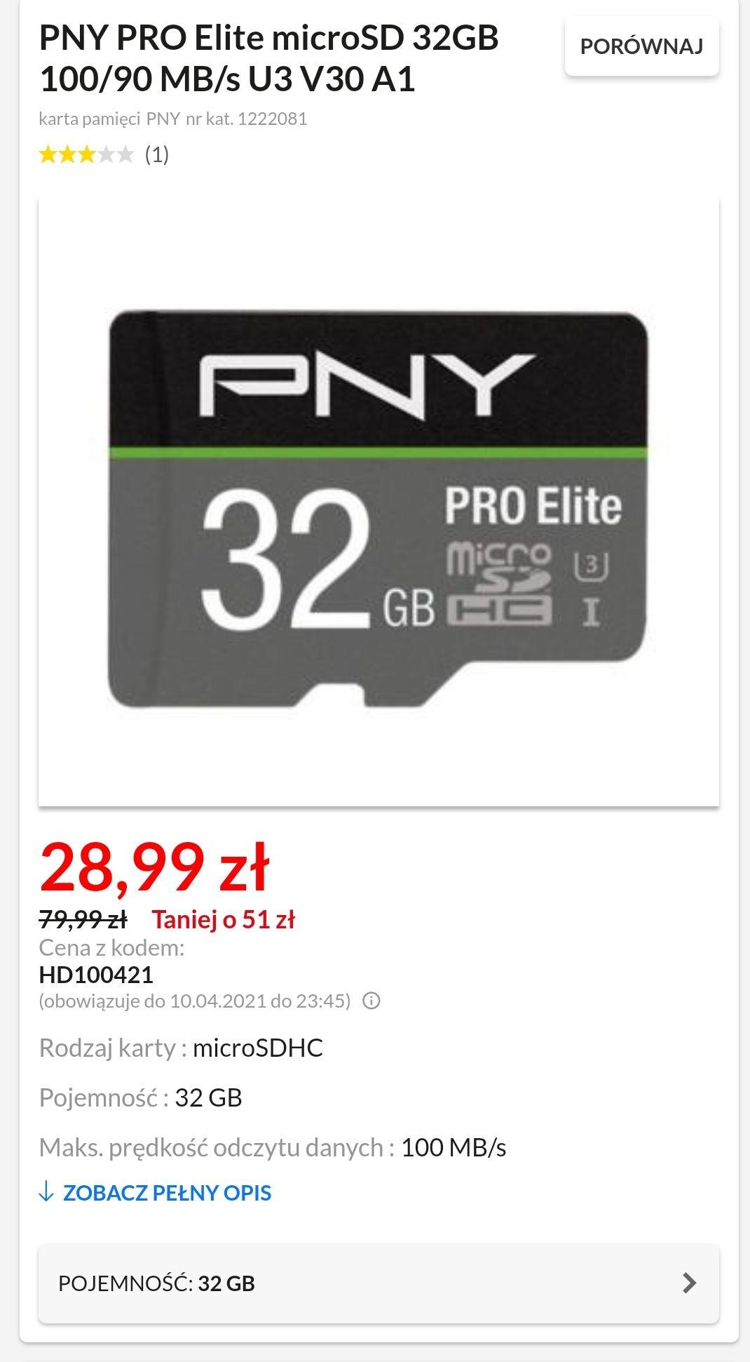 Karta pamięci PNY PRO Elite microSD 32GB 100/90 MB/s U3 V30 A1